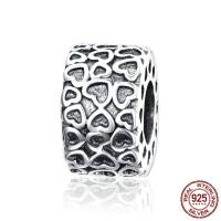 Bali Sterling Silber Perlen, Thailand, Herz, ohne troll, 6x10mm, Bohrung:ca. 4.5-5mm, verkauft von PC