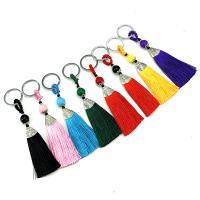 Dekorative Quaste, Polyestergarne, mit Zinklegierung, antik silberfarben plattiert, handgefertigt, keine, 30x150mm, 15PCs/Tasche, verkauft von Tasche