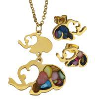 Edelstahl Schmucksets, Halskette, mit Edelstein, Elephant, goldfarben plattiert, Oval-Kette & für Frau, 29x19mm, 2mm, 16x10mm, Länge:ca. 20 ZollInch, verkauft von setzen