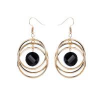 Zinklegierung Ohrringe, plattiert, mehrschichtig & für Frau & mit Strass, keine, frei von Nickel, Blei & Kadmium, 31x55mm, verkauft von Paar