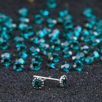 Sterling Silber Schmuck Ohrring, 925er Sterling Silber, silberfarben plattiert, für Frau & mit Strass, keine, 5mm, 3PaarePärchen/Menge, verkauft von Menge