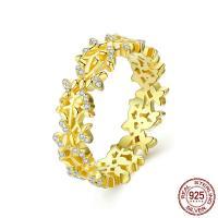 Zirkonia Micro Pave Sterling Silber Ringe, 925er Sterling Silber, Branch, vergoldet, verschiedene Größen vorhanden & Micro pave Zirkonia & für Frau, 5mm, Größe:6-8, verkauft von PC