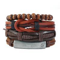 PU Schnur Armbänder, PU Leder, mit Holz & Zinklegierung, handgemacht, unisex & einstellbar, 60mm, Länge:ca. 7.09 ZollInch, verkauft von setzen