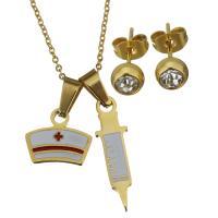 Edelstahl Schmucksets, Halskette, mit Verlängerungskettchen von 2Inch, goldfarben plattiert, Oval-Kette & für Frau & mit Strass, 14x11.5mm,7x24mm,1.2mm,6mm, Länge:ca. 15 ZollInch, verkauft von setzen