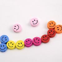 Holzperlen, Holz, Lächelndes Gesichte, Einbrennlack, 15x15mm, Bohrung:ca. 2mm, 500PCs/Tasche, verkauft von Tasche