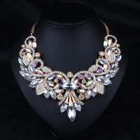 Kristall Zinklegierung Halskette, mit Kristall, mit Verlängerungskettchen von 2inch, plattiert, einstellbar & Oval-Kette & für Frau & mit Strass, keine, frei von Nickel, Blei & Kadmium, verkauft per ca. 19.5 ZollInch Strang