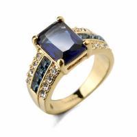 Zinklegierung Fingerring , mit Kristall, goldfarben plattiert, verschiedene Größen vorhanden & für Frau & facettierte & mit Strass, keine, frei von Nickel, Blei & Kadmium, verkauft von PC