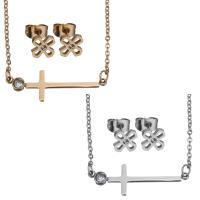 Edelstahl Schmucksets, Halskette, plattiert, Oval-Kette & für Frau & mit Strass, keine, 31x10mm,1.5mm,6x6mm, Länge:ca. 15 ZollInch, verkauft von setzen