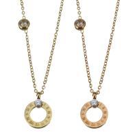 Edelstahl Schmuck Halskette, mit Verlängerungskettchen von 2Inch, Kreisring, plattiert, Oval-Kette & mit Strass, keine, 10x13.5mm,1.2mm, verkauft per ca. 15 ZollInch Strang