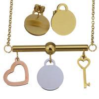 Edelstahl Schmucksets, Halskette, goldfarben plattiert, Oval-Kette & für Frau, 16x19mm,8x20mm,2mm,16x19mm, Länge:ca. 18 ZollInch, verkauft von setzen