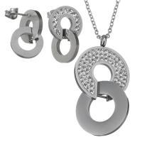 Edelstahl Schmucksets, Ohrring & Halskette, mit Ton, Oval-Kette & für Frau, originale Farbe, 25x46mm,2mm,13x21mm, Länge:ca. 17 ZollInch, verkauft von setzen
