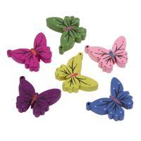 Holzperlen, Holz, Schmetterling, Einbrennlack, 25x21mm, Bohrung:ca. 2mm, 50PCs/Tasche, verkauft von Tasche