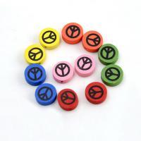Holzperlen, Holz, flache Runde, Einbrennlack, 17mm, Bohrung:ca. 1.5mm, 500PCs/Tasche, verkauft von Tasche