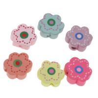 Holzperlen, Holz, Blume, Einbrennlack, 15mm, Bohrung:ca. 1.5mm, 200PCs/Tasche, verkauft von Tasche
