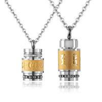 Titanstahl Ehepaar Halskette, Eimer, goldfarben plattiert, Oval-Kette & verschiedene Stile für Wahl, verkauft von Strang