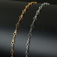 Edelstahl-Schmuck -Kette, Edelstahl, mit Kunststoffspule, Stern, plattiert, keine, 10x5mm, ca. 10m/Spule, verkauft von Spule