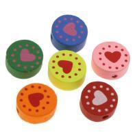 Holzperlen, Holz, flache Runde, Einbrennlack, 15mm, Bohrung:ca. 1.5mm, 100PCs/Tasche, verkauft von Tasche