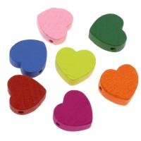 Holzperlen, Holz, flacher Herz, Einbrennlack, 18mm, Bohrung:ca. 2mm, 500PCs/Tasche, verkauft von Tasche