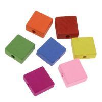 Holzperlen, Holz, Squaredelle, Einbrennlack, 15mm, Bohrung:ca. 3mm, 500PCs/Tasche, verkauft von Tasche