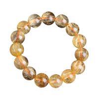Rutilated Quarz Armband, rund, unisex & verschiedene Größen vorhanden, goldfarben, verkauft von Strang