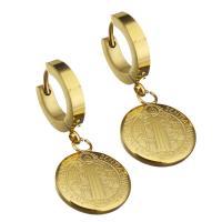Edelstahl Huggie Hoop Ohrhänger, flache Runde, goldfarben plattiert, 14x18mm, 12PaarePärchen/Tasche, verkauft von Tasche