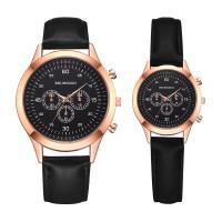 Ehepaar Uhrenarmbänder, Zinklegierung, mit PU Leder & Glas, plattiert, verschiedene Größen vorhanden & für paar, frei von Nickel, Blei & Kadmium, Länge:ca. 8 ZollInch, ca. 9.5 ZollInch, verkauft von PC