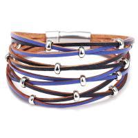 Kunstleder Armband, mit Zinklegierung, plattiert, für Frau & Multi-Strang, keine, 190x35mm, verkauft von PC