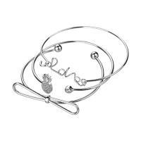 Zinklegierung Armreif, plattiert, einstellbar & für Frau & mit Strass, keine, frei von Nickel, Blei & Kadmium, Innendurchmesser:ca. 60,63,68mm, Länge:ca. 7.4 ZollInch, ca. 7.7 ZollInch, ca. 8.4 ZollInch, verkauft von setzen
