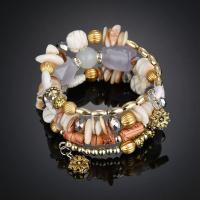 Streifen Achat Wrap Armband, mit Synthetische Türkis & Zinklegierung, plattiert, für Frau & 3-Strang, keine, verkauft per ca. 8 ZollInch Strang