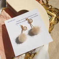 Zinklegierung Tropfen Ohrring, mit Nerz, goldfarben plattiert, für Frau, beige, frei von Blei & Kadmium, 60mm, verkauft von Paar