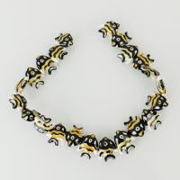 Tier Lampwork Perlen, Fisch, 19x23x7.50mm, Bohrung:ca. 2.5mm, ca. 22PCs/Strang, verkauft per ca. 13 ZollInch Strang