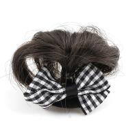 Haarklammer, Kunststoff, mit Künstliche Faser & Stoff, Schleife, für Frau, weiß und schwarz, 48x34x14mm, verkauft von PC