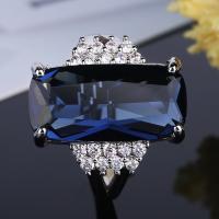 Zinklegierung Fingerring , für Frau & mit kubischem Zirkonia & facettierte, blau, frei von Nickel, Blei & Kadmium, verkauft von PC