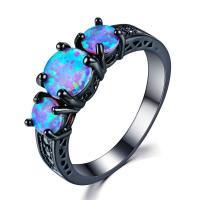 Zinklegierung Fingerring , mit Opal, plattiert, verschiedene Größen vorhanden & für Frau & facettierte & mit Strass, schwarz, frei von Nickel, Blei & Kadmium, verkauft von PC