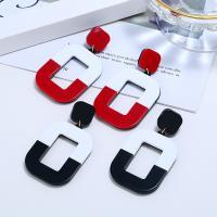 Zinklegierung Tropfen Ohrring, mit Harz, Quadrat, für Frau, keine, 70x38mm, verkauft von Paar
