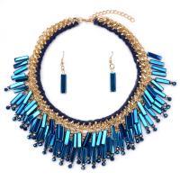 Zinklegierung Schmucksets, Ohrring & Halskette, mit PC Kunststoff & Kristall, plattiert, für Frau, keine, 46cm, verkauft per ca. 18.1 ZollInch Strang