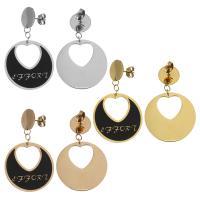 Edelstahl Tropfen Ohrring, für Frau & Emaille, keine, 47mm,28mm, verkauft von Paar