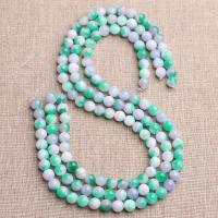 Grüner Chalcedon Perle, poliert, verschiedene Größen vorhanden, Bohrung:ca. 1mm, verkauft von Strang