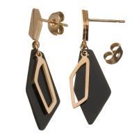 Edelstahl Tropfen Ohrring, goldfarben plattiert, für Frau, schwarz, 35mm,10x22mm, ca. 6PaarePärchen/Menge, verkauft von Menge