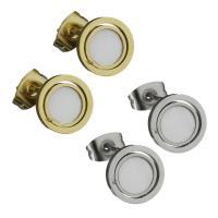 Edelstahl Ohrringe, mit Weiße Muschel, für Frau, keine, 9.50x9.50mm, ca. 12PaarePärchen/Tasche, verkauft von Tasche