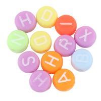 Gemischte Acrylperlen, Acryl, flache Runde, mit Brief Muster, keine, 4x7mm, Bohrung:ca. 1mm, ca. 3700PCs/Tasche, verkauft von Tasche