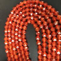 Roter Achat Perle, natürlich, facettierte, rot, 8MM, ca. 47PCs/Strang, verkauft per ca. 15 ZollInch Strang