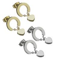 Edelstahl Ohrringe, Herz, für Frau, keine, 6x8mm,20mm, ca. 12PaarePärchen/Tasche, verkauft von Tasche
