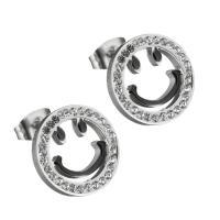 Edelstahl Ohrringe, Lächelndes Gesichte, für Frau & mit Strass, originale Farbe, 13.50x13.50mm, ca. 12PaarePärchen/Tasche, verkauft von Tasche