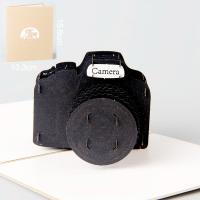 Papier 3D Grußkarte, Kamera, geschnitzt, handgefertigt, schwarz, 133x156mm, verkauft von PC