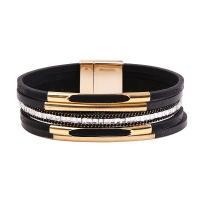 PO Leder kombiniertes Armband, mit Magnet & Messing, goldfarben plattiert, für Frau & mit Strass, keine, 195mmx20mm, verkauft per ca. 7.6 ZollInch Strang