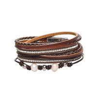 PU Leder kombiniertes Armband, mit ABS-Kunststoff-Perlen, silberfarben plattiert, für Frau & mit Strass, keine, 40mm, verkauft per ca. 15.5 ZollInch Strang