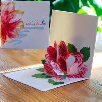 Papier 3D Grußkarte, Blume, handgemacht, hohl, rot, 155x155mm, verkauft von PC