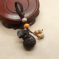 Schwarz Sandelholz Schlüsselanhänger, mit Nylonschnur, Geldsack, unisex, keine, 88*40*24mm, verkauft von Strang