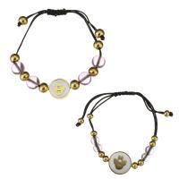 Edelstahl Woven Ball Armbänder, mit Glasperlen & Nylonschnur & Weiße Muschel, unisex, gemischte Farben, 16x16mm,10.5x9.5mm,16x16mm6.5x5.5mm, Länge:ca. 6-10 ZollInch, ca. 4-8 ZollInch, 2SträngeStrang/Menge, verkauft von Menge